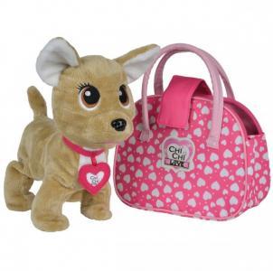 Интерактивная игрушка  плюшевая собачка Счастливчик с сумочкой 20 см Chi-Chi Love