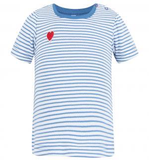 Футболка  Веселая полосочка, цвет: белый/синий Осьминожка