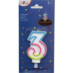 Свеча-цифра для торта  3 7,5 см., радужная Susy Card