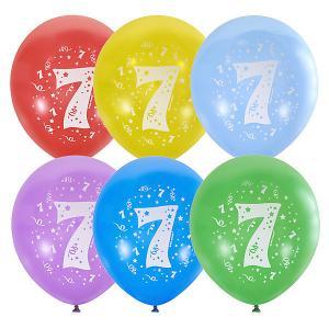 Воздушные шары  Цифра Семь 10 шт, пастель + декоратор Latex Occidental. Цвет: разноцветный