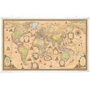 Карта Мира, Политическая, Стиль Ретро, 1:25М на рейках Издательство Ди Эм Би