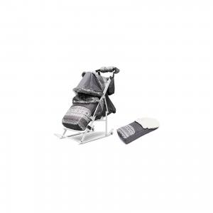 Санки-коляска  3УМ Экстра Скандинавия на белой раме, серый ABC Academy. Цвет: серый
