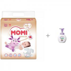 Premium подгузники NB (0-5 кг) 90 шт и LION Kirei Пенное мыло для рук с ароматом цветов, 250 мл Momi
