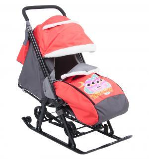 Санки-коляска  Совушки, цвет: красный Galaxy