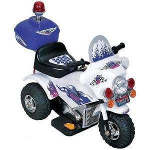 Электромотоцикл  Police с мигалкой, бело-синий (свет, звук) Bugati