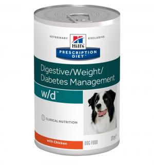 Влажный диетический корм Hills Prescription Diet для взрослых собак w/d при сахарном диабете и проблемах с пищеварением, 370г Hill's