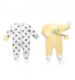 Комплект комбинезон 2 шт , цвет: белый/желтый Happy Baby