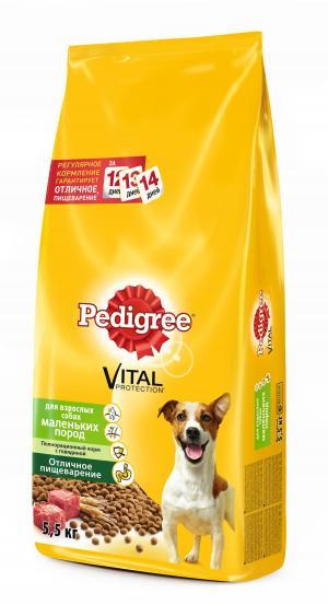 Корм сухой  для взрослых собак, говядина, 5.5кг Pedigree