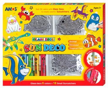 Набор витражных красок 6 цветов (18 витражей мини) Amos