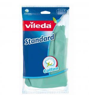 Перчатки латексные  с хлопковым напылением Standart, M Vileda