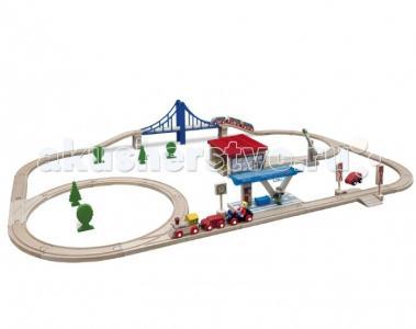 Набор Деревянной железной дороги с мостом депо и аксессуарами 58 деталей Eichhorn