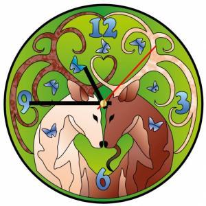 Часы витражные Золотые олени Color Kit