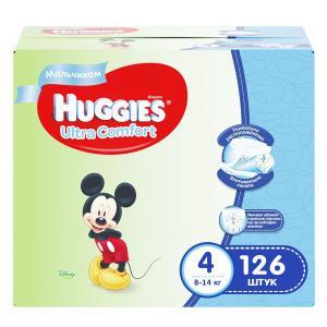 Подгузники  Ultra Comfort 4 для мальчиков (8-14 кг) 126 шт. Huggies