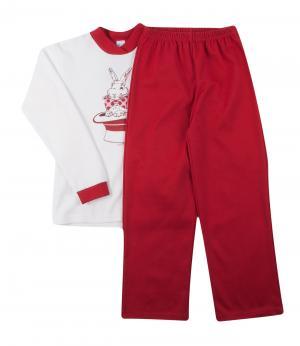 Пижама для девочки (бело-бордовая) Olla. Цвет: белый