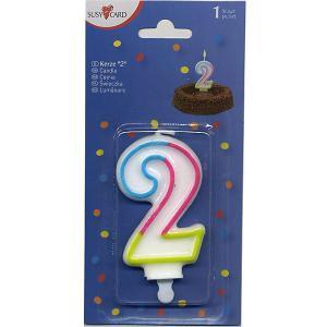 Свеча-цифра для торта  2 7,5 см., радужная Susy Card