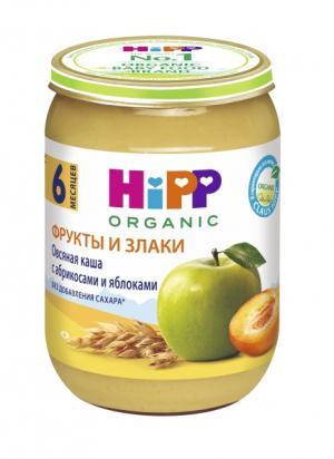 Пюре  в баночке овсяная каша с абрикосами и яблоками 6 месяцев, 190 г Hipp