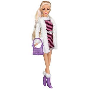 Кукла  Городской стиль Ася блондинка в полосатом платье и белой шубке, 28 см Toys Lab. Цвет: разноцветный