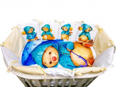 Комплект в кроватку  Детская история Мишка под зонтиком (4 предмета) Сонная сказка