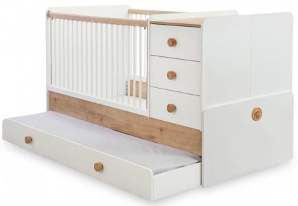 Кроватка-трансформер  Natura Baby с выдвижным спальным местом 131х80/177х80 см Cilek