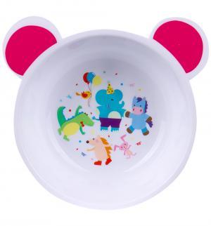 Тарелка глубокая  С ушками, цвет: белый/ушки розовые Canpol