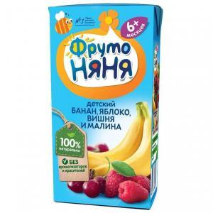 Нектар  яблоко-банан-вишня-малина, 200 мл ФрутоНяня