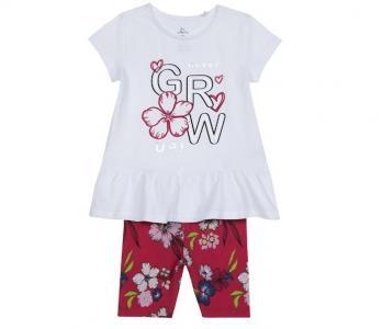 Комплект для девочек футболка и шорты Цветы grow 09076330 Chicco