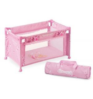 Манеж-кроватка для кукол  Мария розовая 50 см DeCuevas