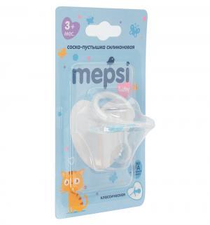 Соска-пустышка  Классическая силикон, с 3 мес, цвет: синий Mepsi