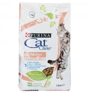 Корм сухой  Special Care Naturium для взрослых кошек с чувствительным пищеварением, лосось, 1.5кг Cat Chow