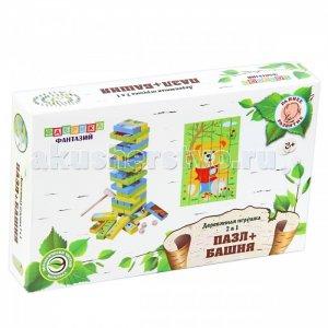 Деревянная игрушка  2 в 1 Пазл и Башня Слоник Мишка Фабрика фантазий