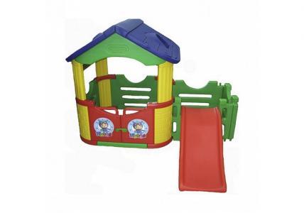 Двойной игровой домик с горкой Happy Box
