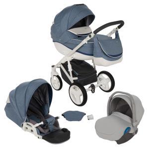 Коляска 3 в 1  Ideal New, цвет: голубой/синий/белый Bexa Poland