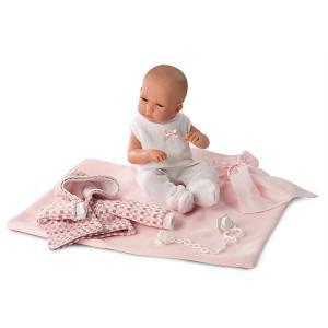 Кукла  младенец в розовом, 35 см Llorens. Цвет: розовый
