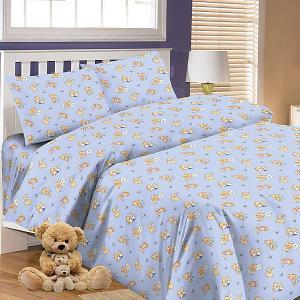 Детское постельное белье 3 предмета , простыня на резинке, BGR-64 Letto. Цвет: синий