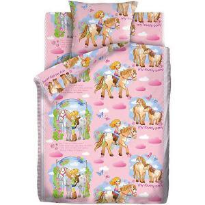 Детское постельное белье 1,5 сп. Кошки-Мышки (70х70см) Девочка и Лошадка. Цвет: разноцветный