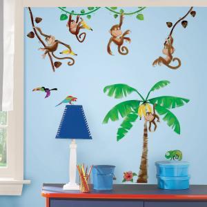 Наклейки для декора Мартышки RoomMates. Цвет: зеленый