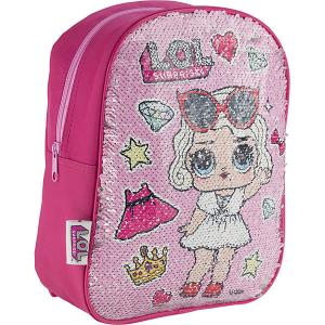 Рюкзак детский AKADEMIA GROUP Куклы L.O.L, с двусторонними пайетками MGA. Цвет: розовый