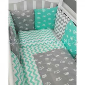 Комплект в кроватку  Короны (6 предметов) с бортиками-подушками ByTwinz