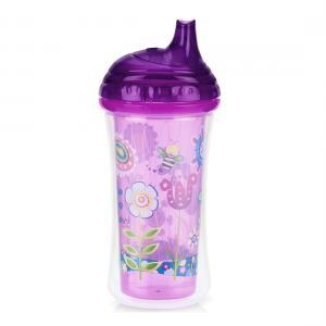 Термопоильник  с твердым носиком, 9 месяцев, цвет: фиолетовый Nuby