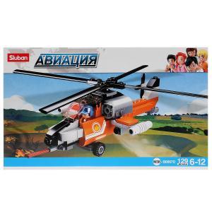 , Конструктор пластиковый Вертолет с фигуркой, 129дет. Sluban
