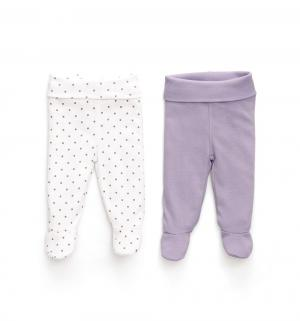 Комплект ползунки 2 шт , цвет: белый/фиолетовый Happy Baby