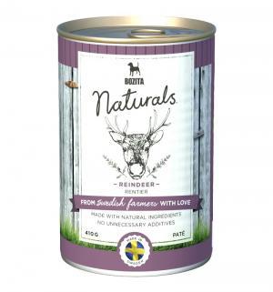 Влажный корм  Naturals для взрослых собак мясной паштет, олень, 410г Bozita