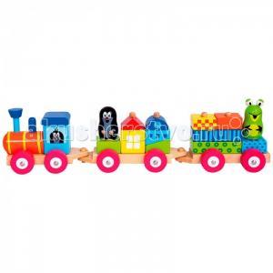 Деревянная игрушка Mertens Паровоз с домиками Маленький крот Bino
