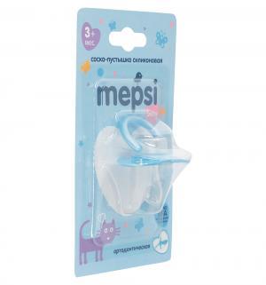Соска-пустышка  Ортодонтическая силикон, с 3 мес, цвет: синий Mepsi
