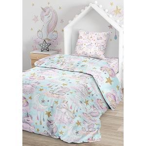 Комплект постельного белья  Сказочные единороги, 1,5-спальное Juno. Цвет: разноцветный