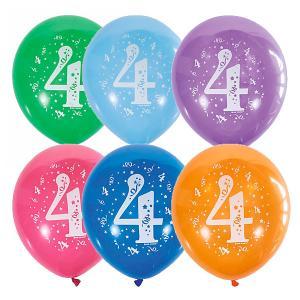 Воздушные шары  Цифра Четыре 10 шт, пастель + декоратор Latex Occidental. Цвет: разноцветный