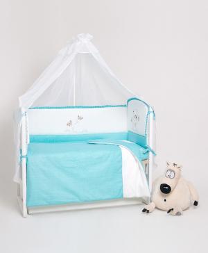 Комплект из 4-х предметов в кроватку с вышивкой Мишка бабочкой Мой Ангелочек