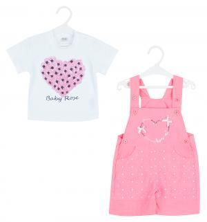 Комплект футболка/полукомбинезон , цвет: розовый Bony Kids