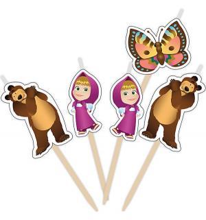 Набор свечей на палочках  5 шт Маша и Медведь