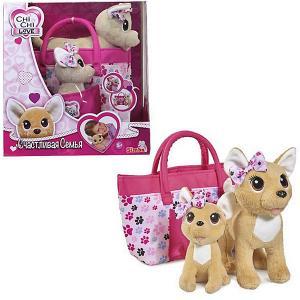 Плюшевые собачки  Chi Love Счастливая семья, 20 см, 14 см Simba. Цвет: розовый